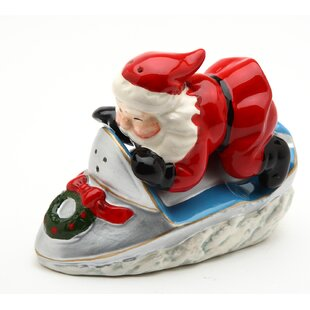 Santa with Snowmobile Salt and Pepper Set