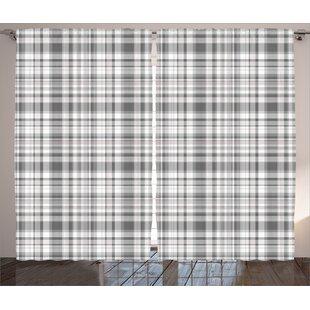 Plaid Room Darkening Rod Pocket Indoor Outdoor Curtain Panels Set Of 2