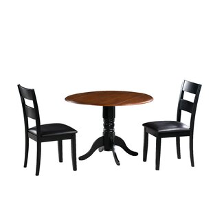 Adler 3 Piece Drop Leaf Solid Wood Dining Set August Grove