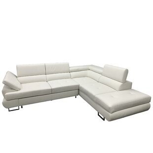 Shirleen Leather Sleeper Sectional