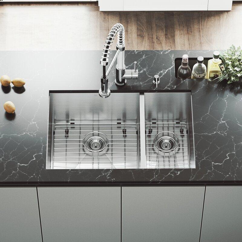 vigo 29 l x 20 w double basin undermount kitchen sink with faucet rh wayfair com kohler undermount double bowl kitchen sink fireclay undermount double bowl kitchen sinks
