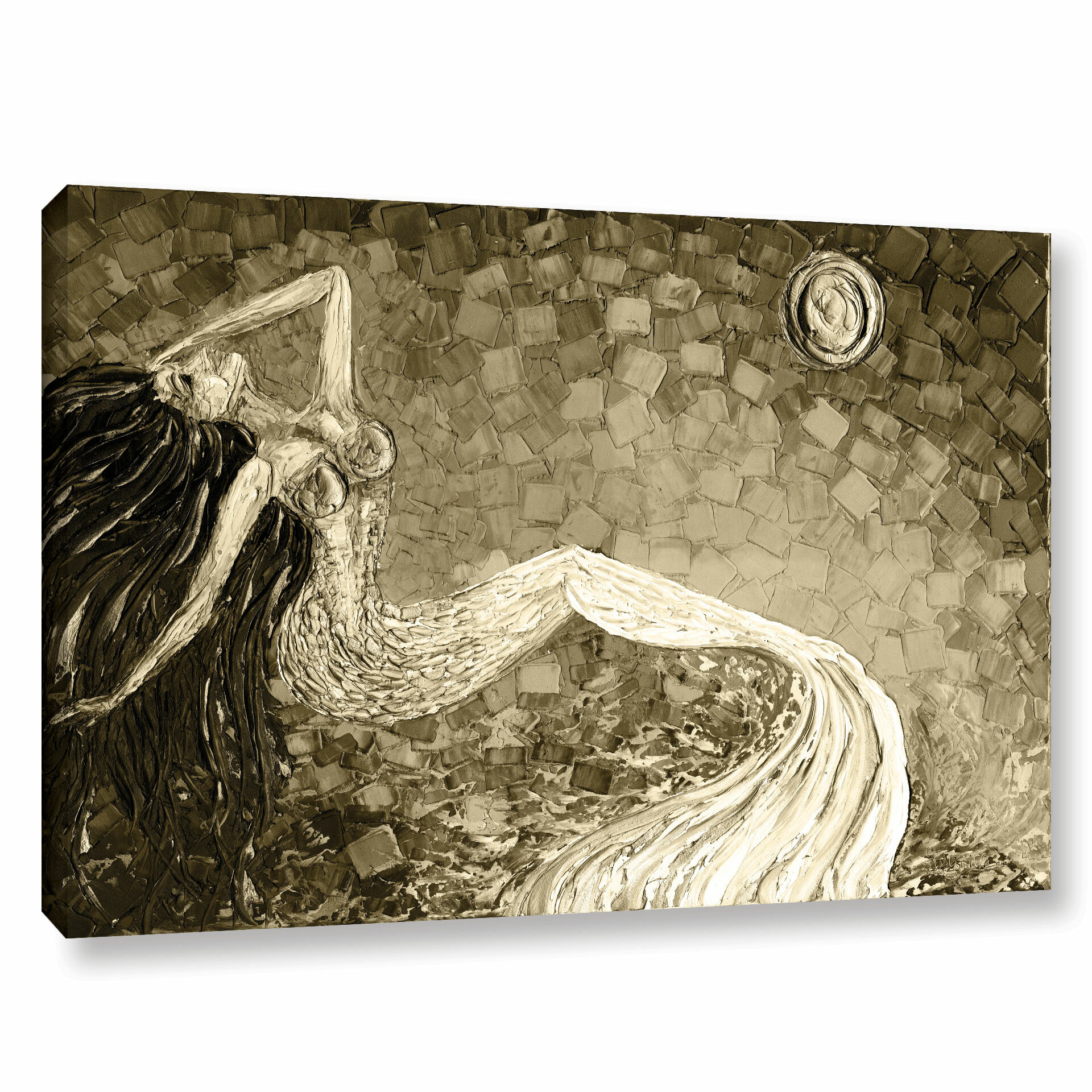 Beachcrest Home Mermaid Sepia Painting Print On Wrapped Canvas Reviews Wayfair