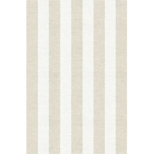 Best Wasson Stripe Hand-Woven Wool Silver/White Area Rug By Breakwater Bay