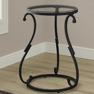Hammered Black Metal End Table