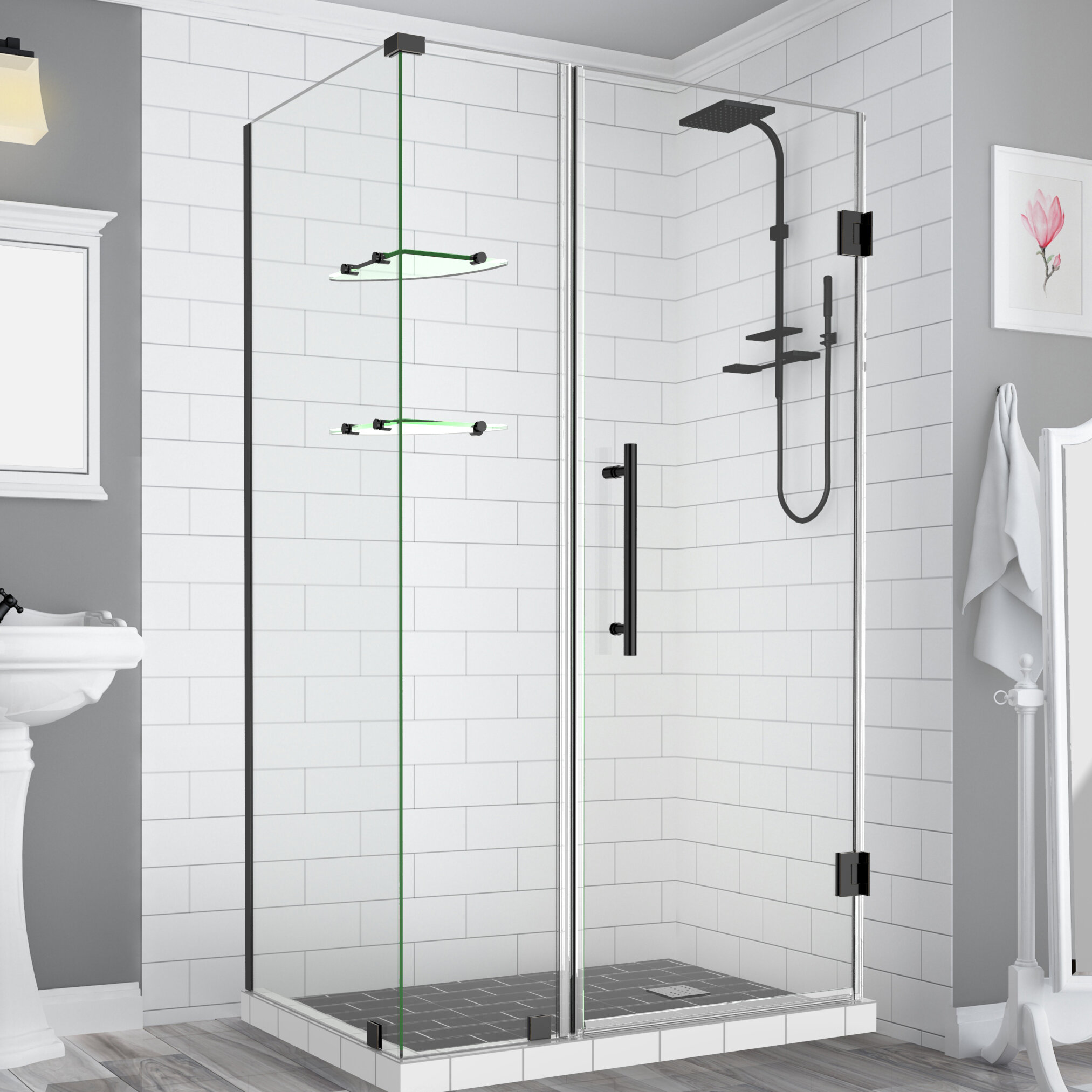 Bromley Gs Frameless With Glass Shelves 49 X 72 Rectangle Hinged Shower Enclosure