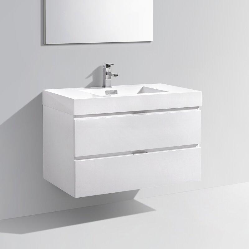 """Modern Bathroom Vanity Sets wade logan tenafly 36"""" single wall mount modern bathroom vanity"""