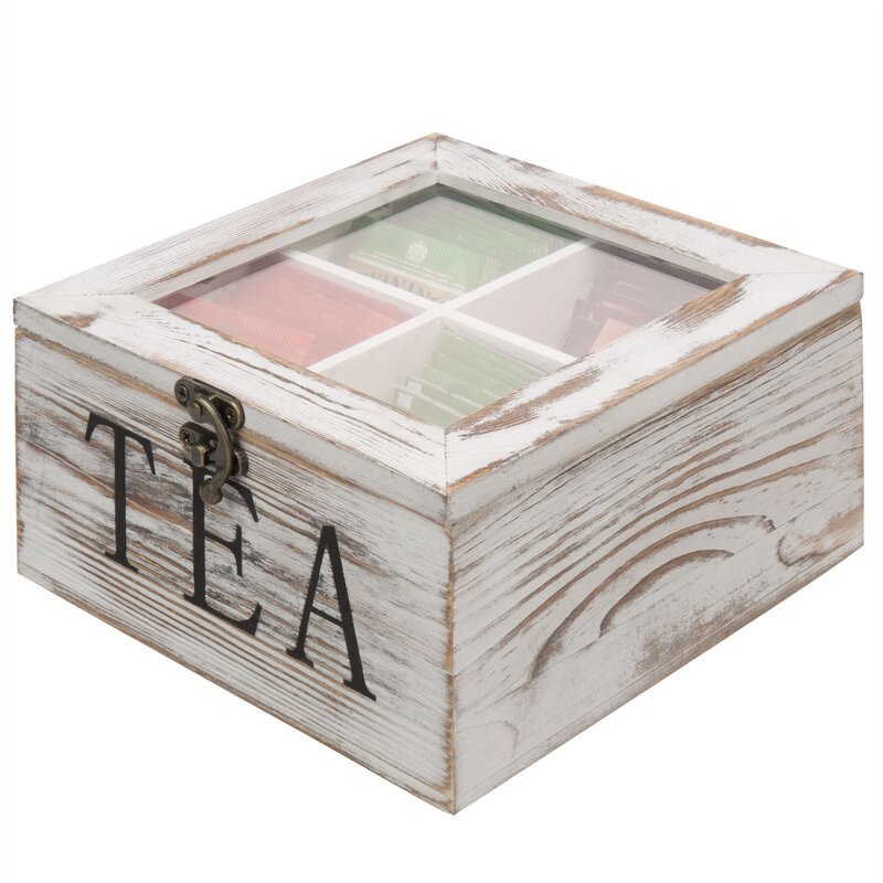 MyGift MyGift 4-Slot Tea Bag Storage Chest with Clear Lid