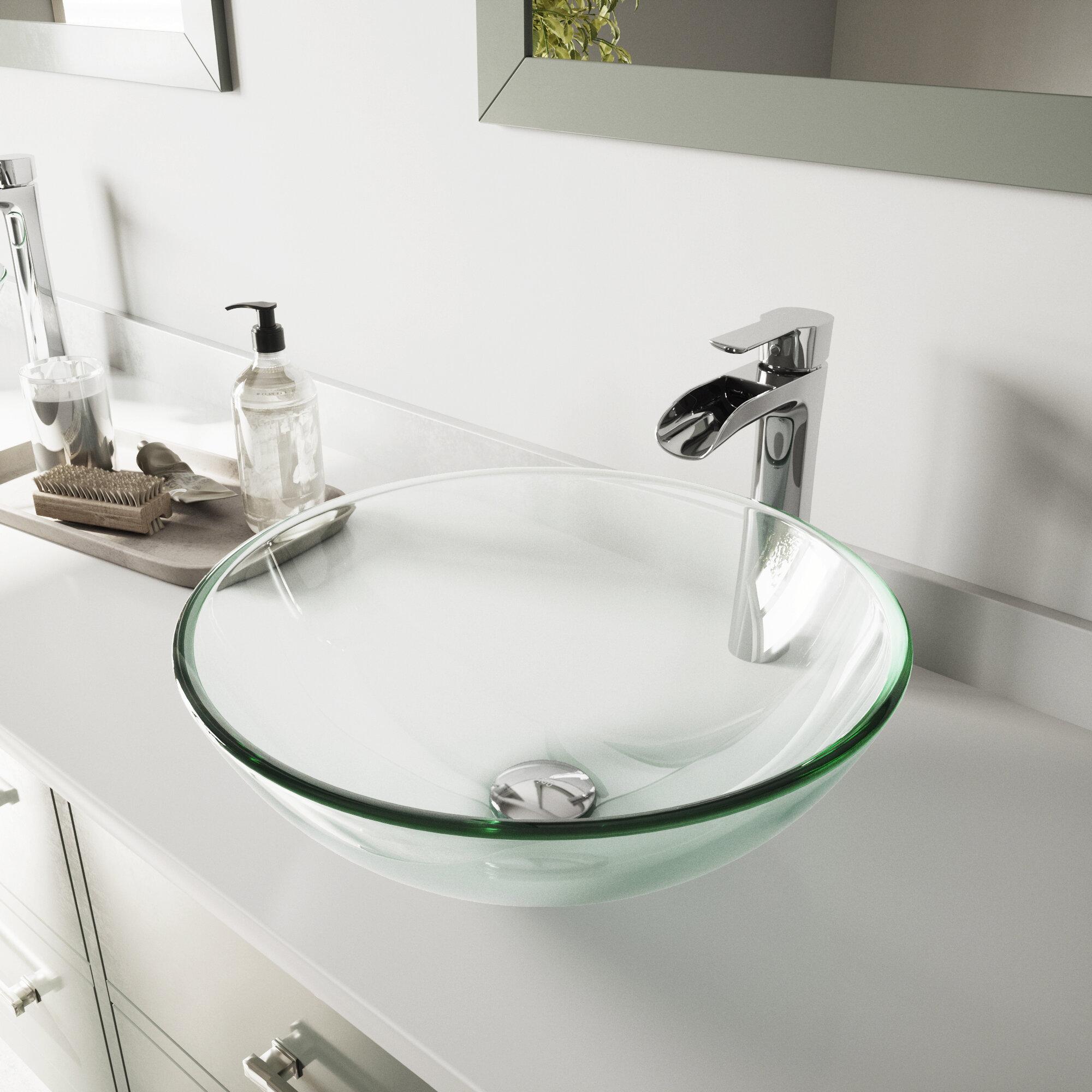 Vigo Crystalline Glass Circular Vessel Bathroom Sink With Faucet Reviews Wayfair