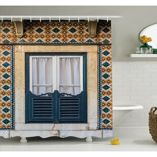 Affordable Vintage Window Rural Shower Curtain Set By Ambesonne