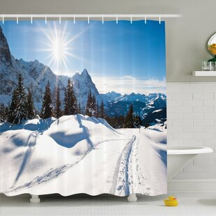 Inexpensive Winter Panoramic Winter Scenery on Mountain with Sunny Weather and Trees Photo Shower Curtain Set ByAmbesonne