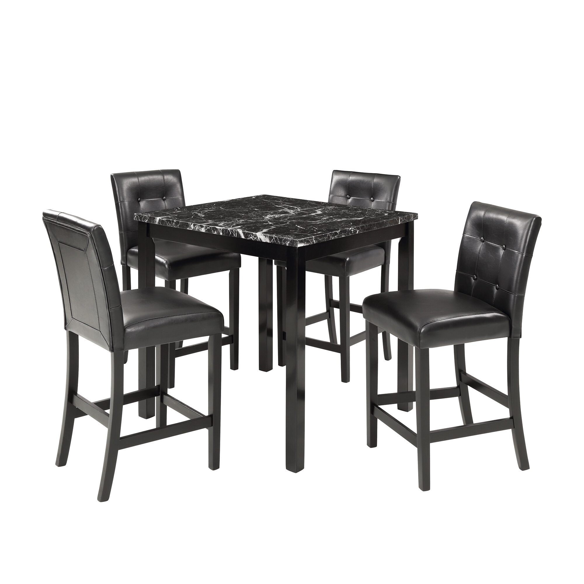 Red Barrel Studio 5 Piece Counter Height Dining Table Set Durable Kitchen Tables Furniture With 4 Matching Chairs Dining Room Desk With Laminated Faux Marble Top For Breakfast Lunch Dinner Black Wayfair Ca