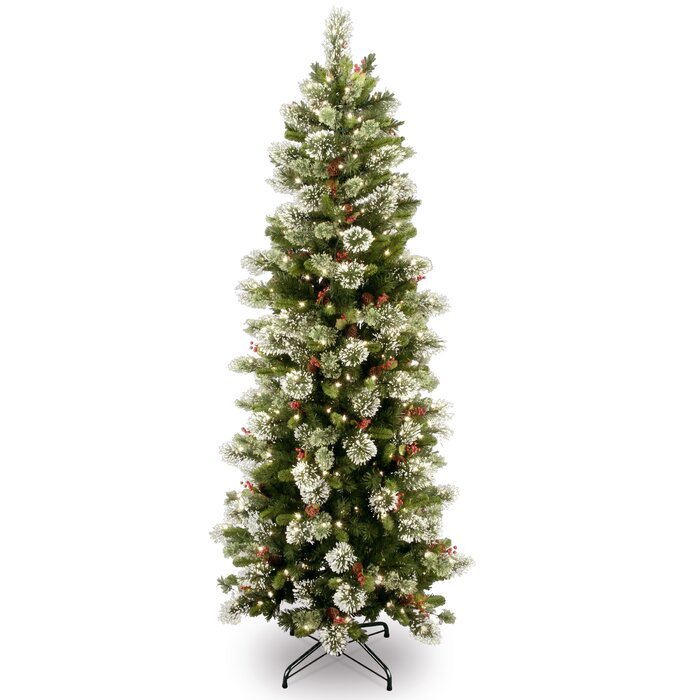 Slim Christmas Tree.Wintry Slim 7 Green Pine Artificial Christmas Tree With 300 Clear Lights