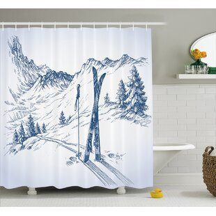 Becker Sketchy Graphic of a Downhill With Ski Elements Single Shower Curtain