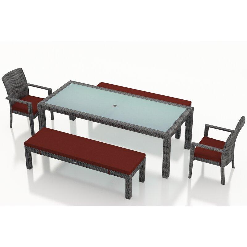 Rosecliff Heights Hobbs 5 Piece Sunbrella Bench Dining Set With Cushions Wayfair