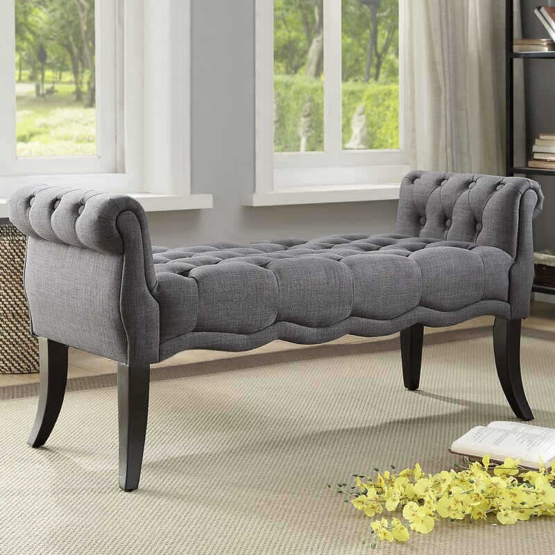 Campbell Traditional Roll Arm Upholstered Bench