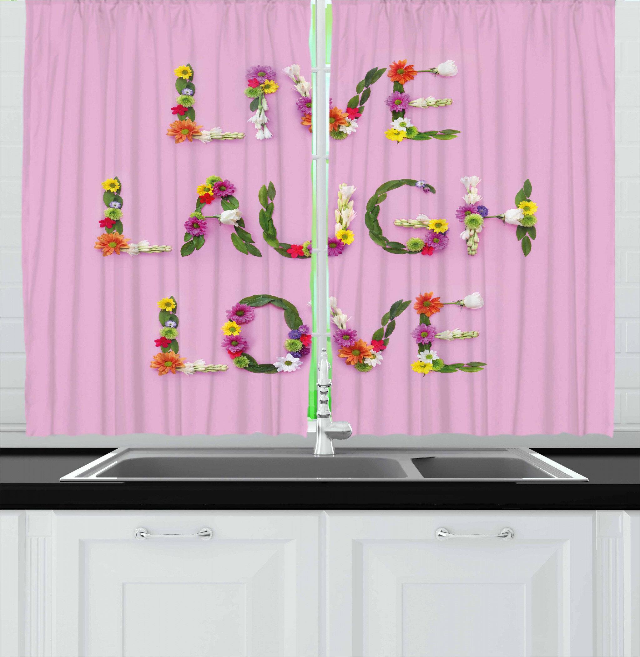 East Urban Home Live Laugh Love 2 Piece Kitchen Curtain Set Wayfair