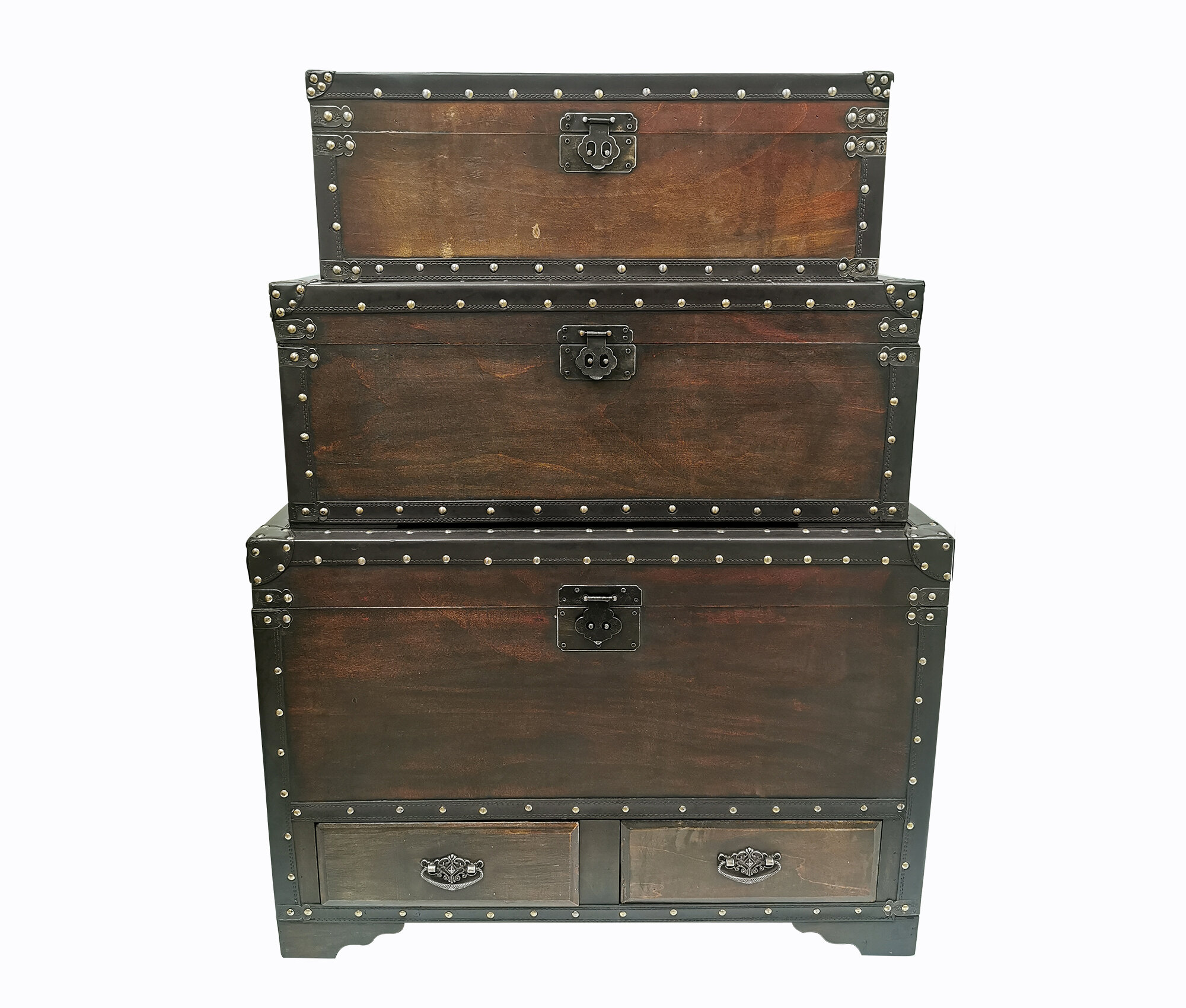 Millwood Pines Kays Leather Trimmed 3 Piece Trunk Set Wayfair
