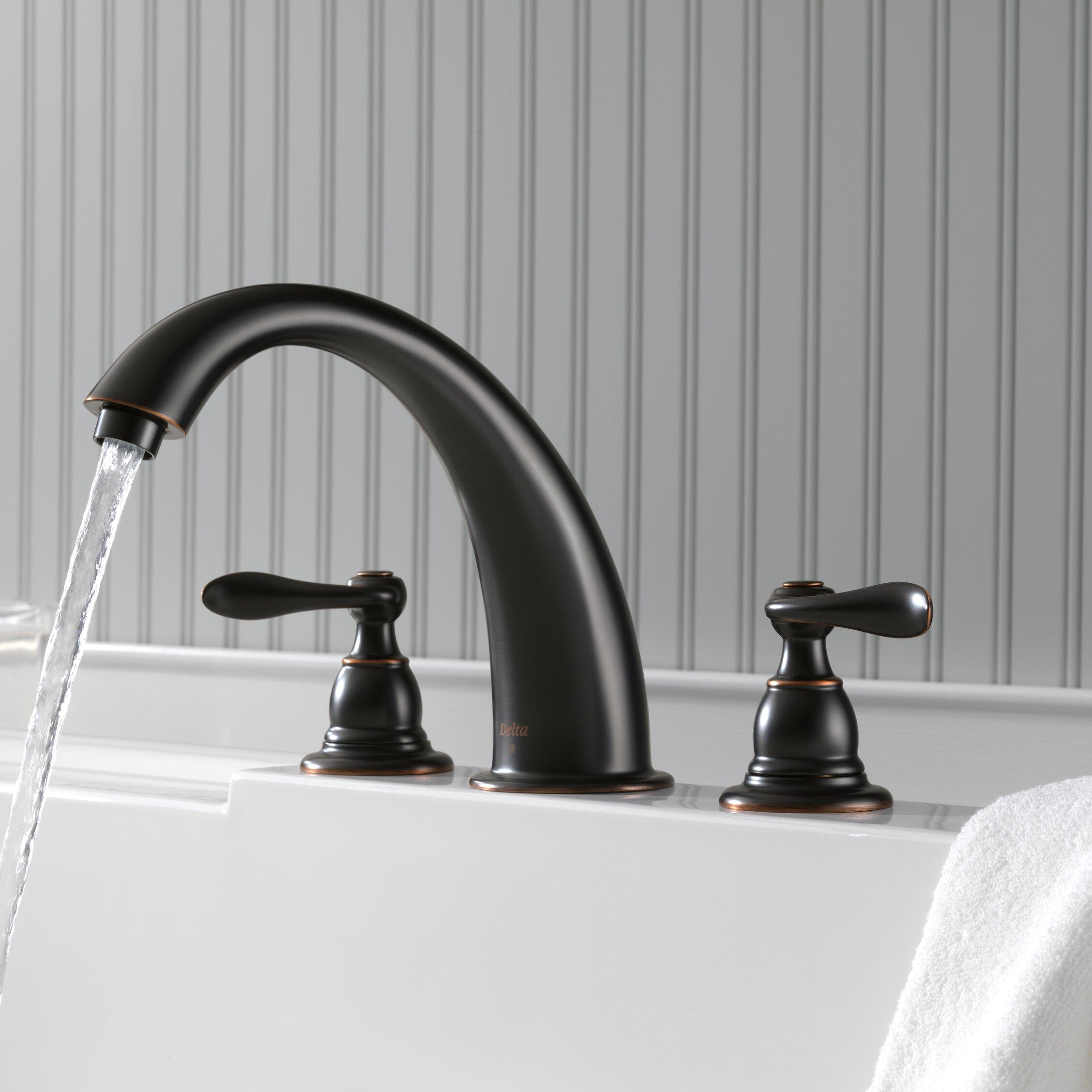 Bt2796 Ss Ob Delta Windemere Double Handle Deck Mounted Roman Tub Faucet Trim Reviews Wayfair