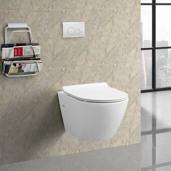 Fine Fixtures Stormon Dual Flush Elongated Wall Hung Toilet With Soft Close Seat Tank Carrier System And Push Button Wayfair