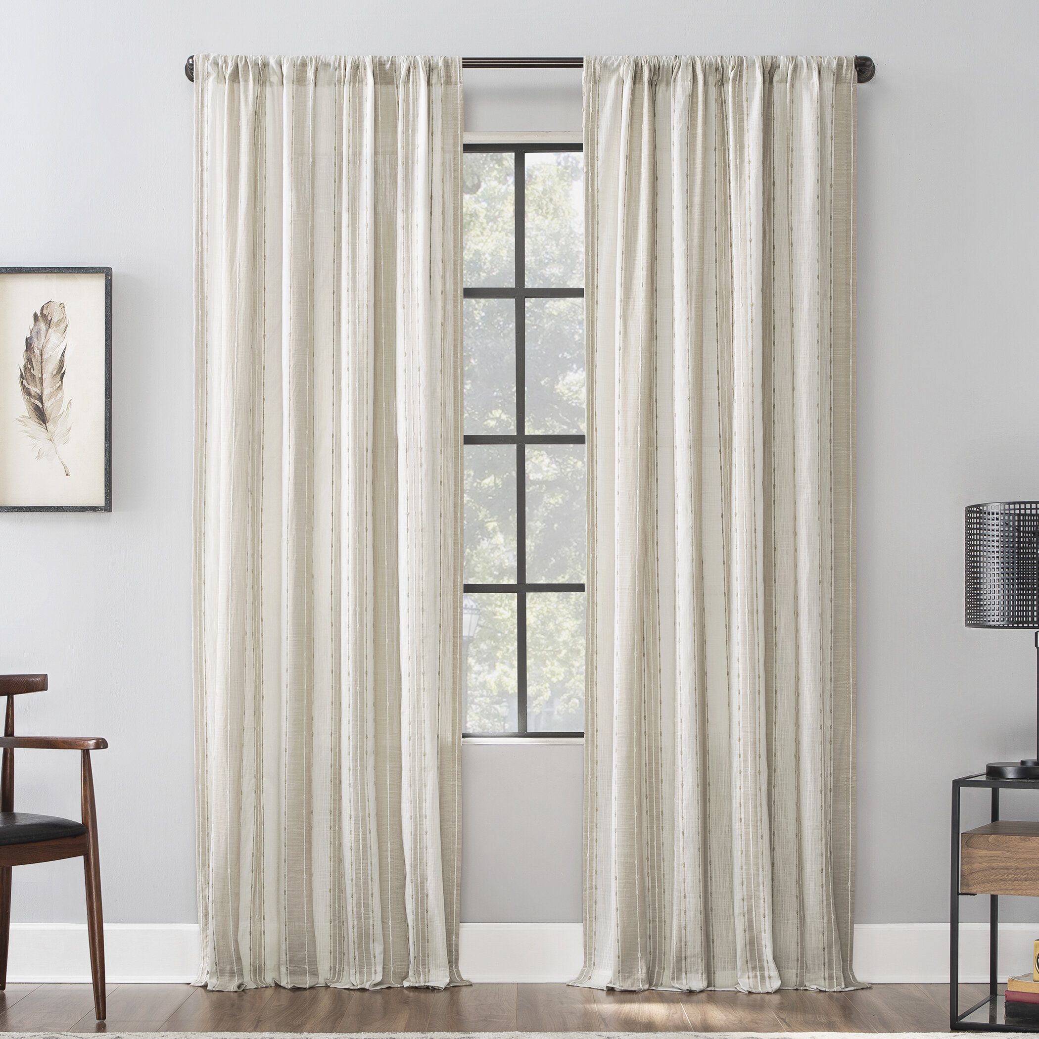 Allmodern Senita Slub Texture 100 Cotton Striped Sheer Rod Pocket Single Curtain Panel Reviews Wayfair