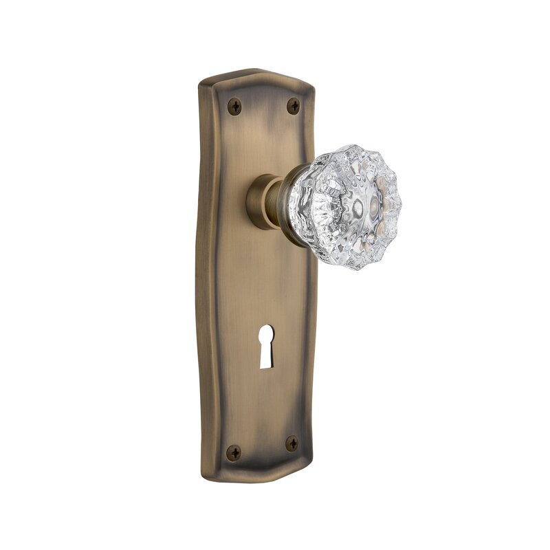 Crystal Glass Interior Mortise Door Knob With Prairie Plate