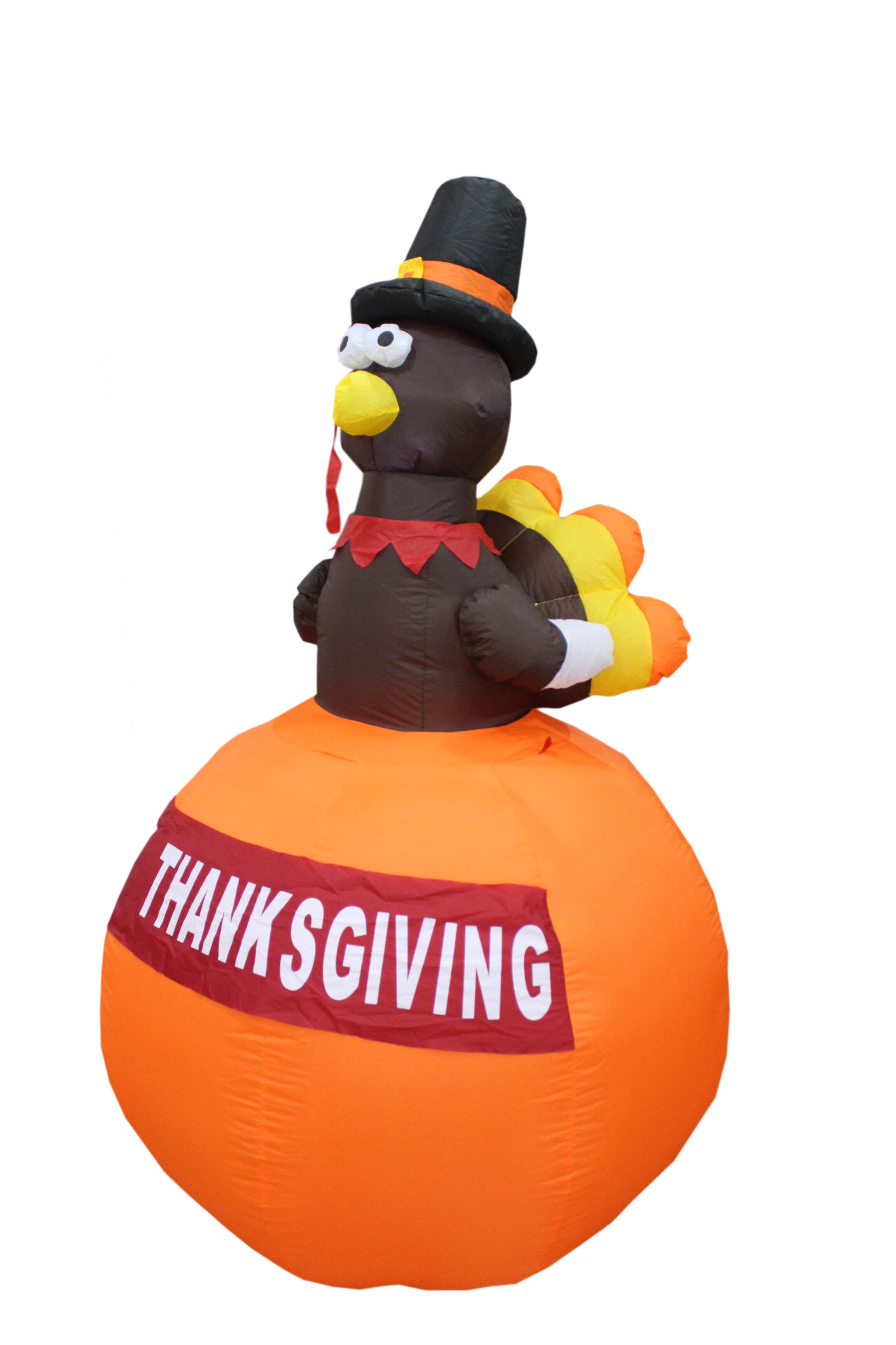 The Holiday Aisle Halloween Inflatable Turkey On Pumpkin Reviews Wayfair
