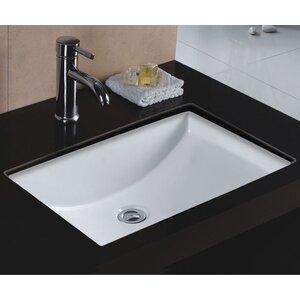 Rhythm Series Ceramic Rectangular Undermount Bathroom Sink with Overflow
