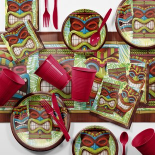 Bulk Tiki Time Luau Tableware Set