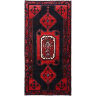 One-of-a-Kind Toupin Geometric Tribal Hamedan Persian Hand-Knotted 4' x 8'3 Wool Coral Red/Black Area Rug Isabelline