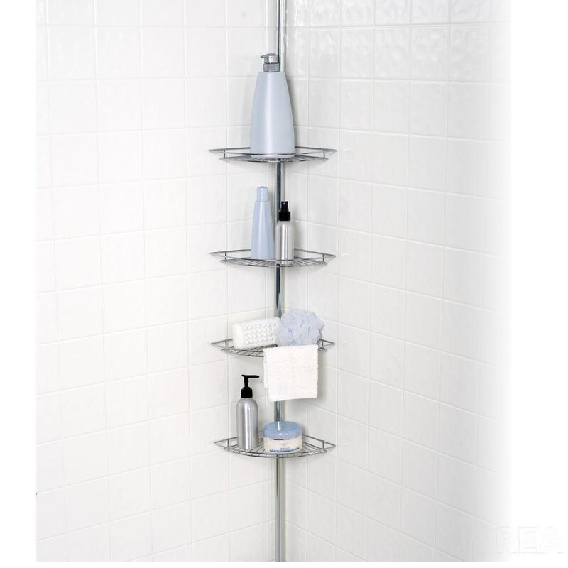 Sweet Home Collection 4 Tier Tension Pole Corner Shower Caddy   Wayfair