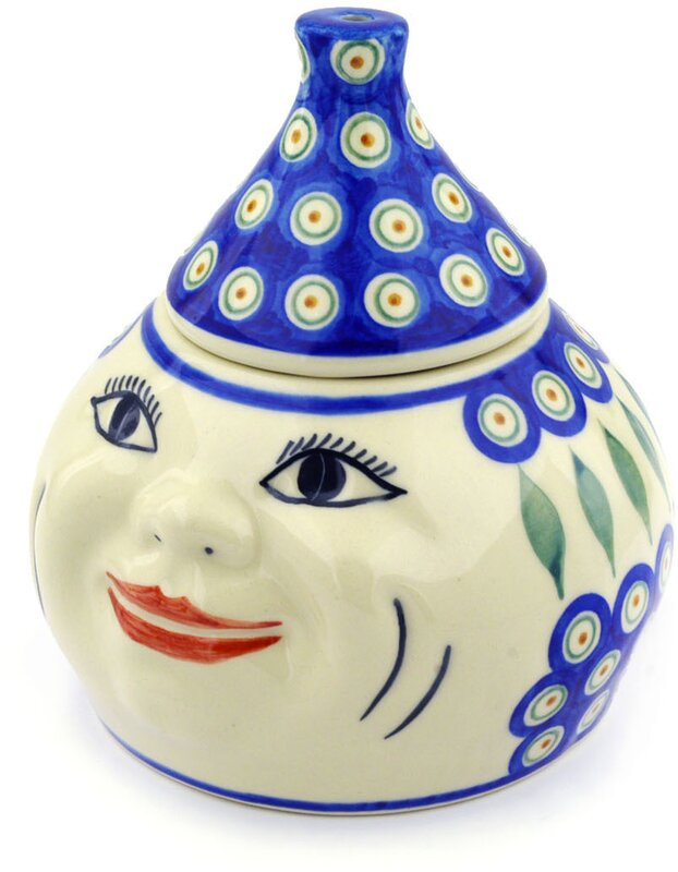 Polish Pottery Peacock Garlic And Onion Kitchen Canister