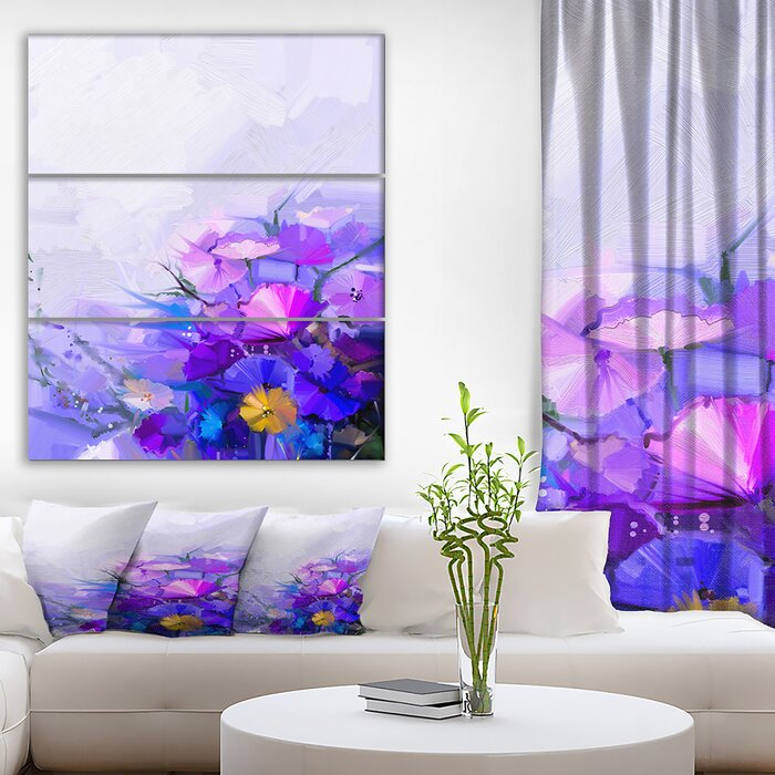 \'Abstract Blue and Purple Flowers\' Oil Painting Print Multi-Piece Image on  Wrapped Canvas