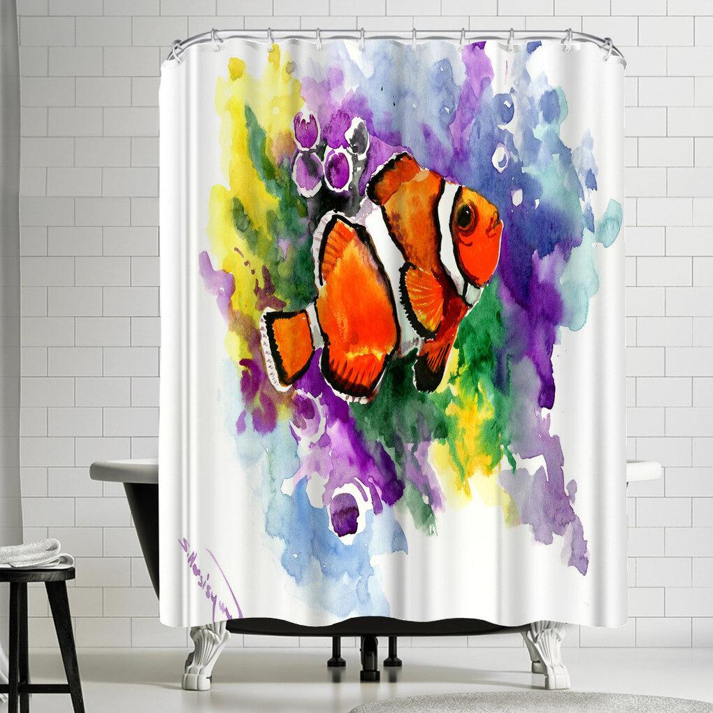 East Urban Home Suren Nersisyan Coral Reef Fish Single Shower Curtain Wayfair