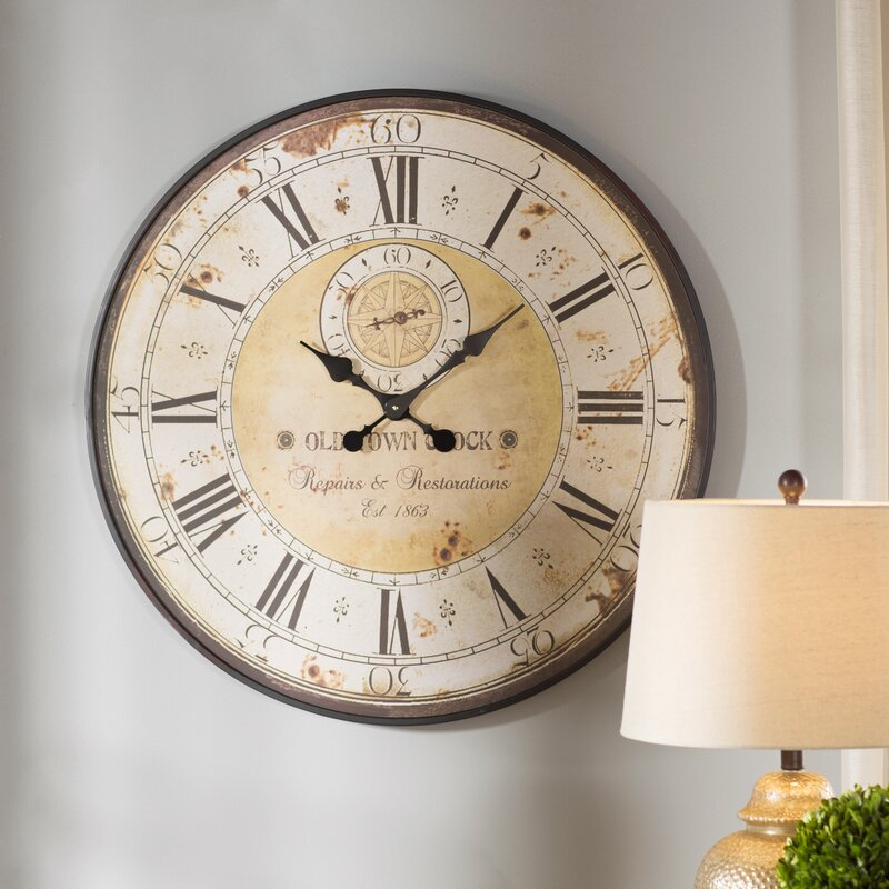 Charming Ideas Large Rustic Clock. Oversized 31 5  Round Metal Wall Clock Darby Home Co Reviews