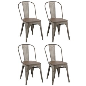 Industrial Metal Solid Wood Dining Chair (Set Of 4)