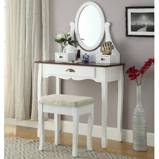 Roundhill Furniture Interhyp Wooden Vanity Set with Mirror
