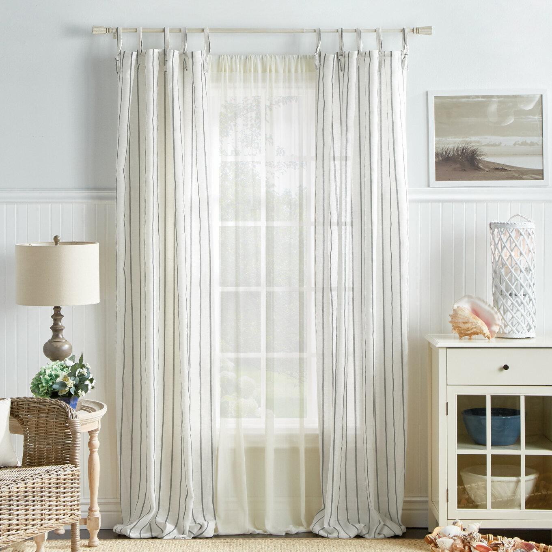 Martha Stewart Laguna Striped Semi Sheer Tab Top Curtain Panels Reviews Wayfair