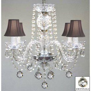 House of Hampton Kallas Swarovski 4-Light Shaded Chandelier