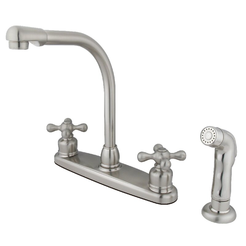 Kingston Brass Victorian High Arch Double Handle Kitchen Faucet With Side Spray Reviews Wayfair