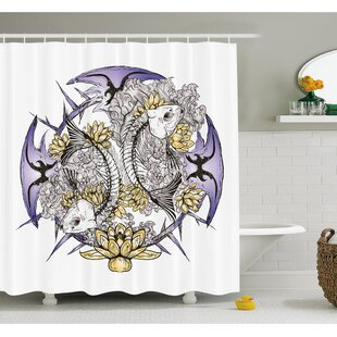Skull Pisces Fish with Lotus Flowers Traditional Eastern Symbolic Religious Shower Curtain Set