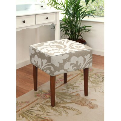 123 Creations Jacobean Floral Upholstered Vanity Stool Color Taupe