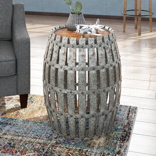 Bargain Gibbs Wood and Metal Barrel End Table By Trent Austin Design
