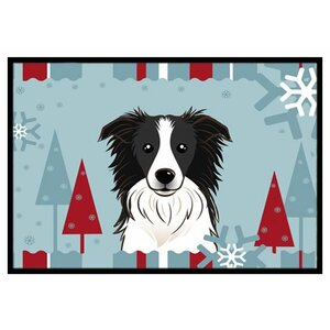 Winter Holiday Border Collie Doormat