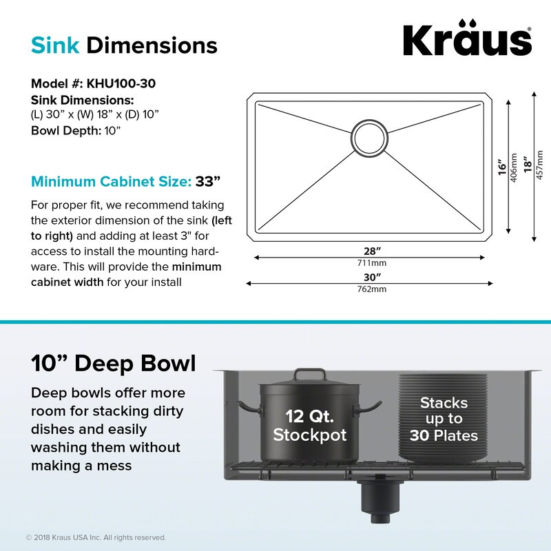 30  x 18  Undermount Kitchen Sink with Sink Grid and Drain Assembly  sc 1 st  Wayfair & Kraus 30