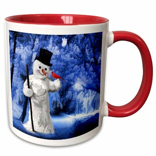 East Rolstone Snowman with a Cardinal Bird in a Wintry Scene Coffee Mug