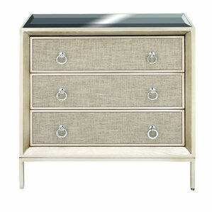 3 Drawer Wood And Metal Mirror Accent Chest