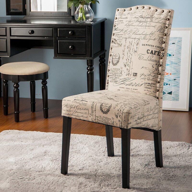 merax script fabric side chair & reviews   wayfair