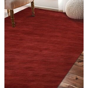 Delano Solid Hand Knotted Wool Dark Red Area Rug