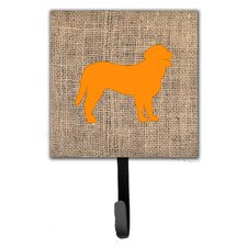 Curly Coated Retriever Burlap and Orange Leash Holder and Wall Hook by Caroline's Treasures