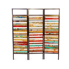 67 x 60 Luna Sea 3 Reclaimed Wood Panel Room Divider by EcoChic Lifestyles